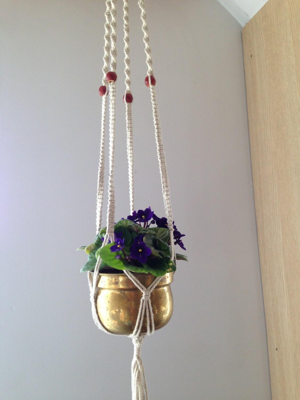 vintage macrame plant hanger white macrame flower pot holder