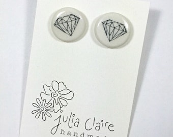 diamond porcelain stud earring/ trendy earring/ porcelain jewelry/ black and white/ handmade by Julia Claire