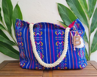 Gift bags custom from Mexico / Tulum destination wedding / embroidered beach tote / welcome totes sets with wood keychain design