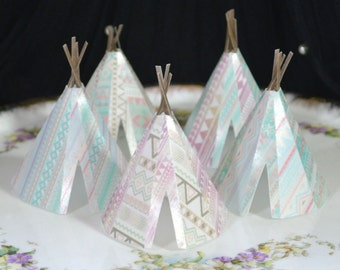 Edible Teepees 3D x5 Tribal Boho Pastels Tipi Wafer Paper Bohemian Wedding Cake Decorations Wild One 1st Rustic Birthday Cupcake Toppers RTD