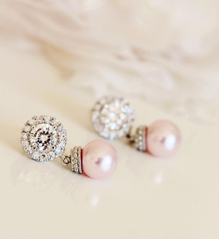 Blush Pink Earrings Blush wedding Jewelry Blush Bridesmaid Gift Bridesmaid Earrings Pink Pearl Earrings Bridal Earrings Bridesmaid Jewelry