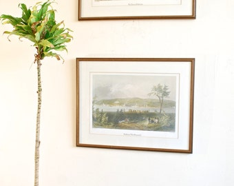 """Pair of Vintage 19th Century Prints of Fredricton, New Brunswick by J.C. Armytage, W.H. Bartlett in Wooden Frame - 20"""" x 15.5"""" EACH"""