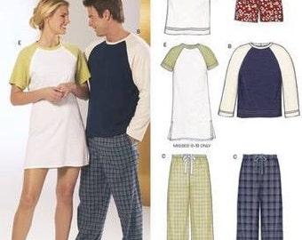 His & Hers PLUS SIZE SLEEPWEAR Sewing Pattern ~ Loungewear Pajama Pants Shorts Top Nightshirt 5 Sizes