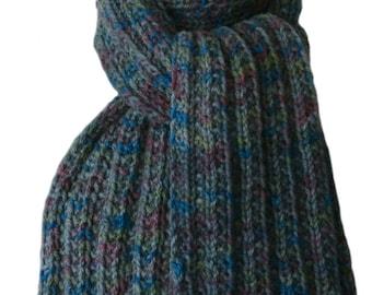 Hand Knit  Scarf - Muted Blue Green Purple Hand-Dyed Wool Trail Ridge Rib