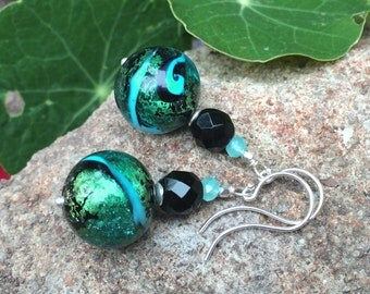 Murano Blue Earrings - Gorgeous Authentic Italian Lampwork Glass Beads, Vintage Czech Glass & Pearlized Crystals w Argentium Ear Wires