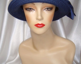 Navy Blue 1920s Straw Cloche Hat, Downton Abbey and Phryne Fisher Inspired Hat, Great Gatsby Inspired Hat