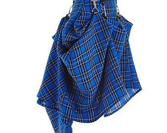 Blue Black Plaid Tartan  SteamPunk Victorian Bustle Custom Made  Skirt