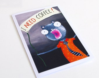 Coffee birthday card Men birthday card - coffee card for boyfriend - coffee lover coffee stationery - coffee gift - coffee greeting card