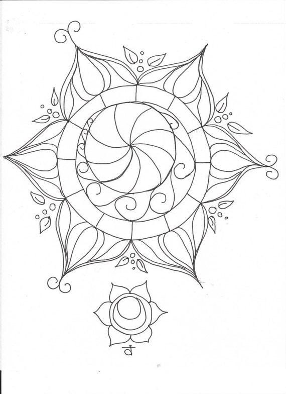Sacral Chakra Elemental Mandala Adult Coloring Page