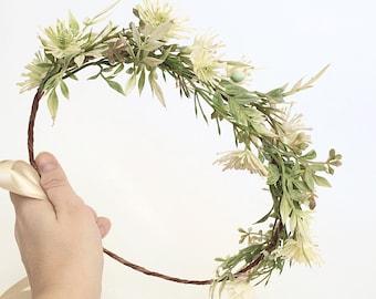 Green Crown- Bridal Halo- Greenery Flower Crown- Rustic wedding headpiece- Hair Vine- Greenery crown- Leaf Headband- Wedding Crown