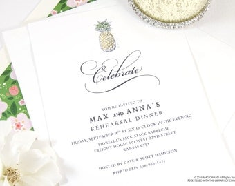 Pineapple Destination Weddings Rehearsal Dinner Invitations (set of 25 cards)