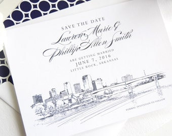 Little Rock Skyline, Arkansas Save the Dates (set of 25 cards)