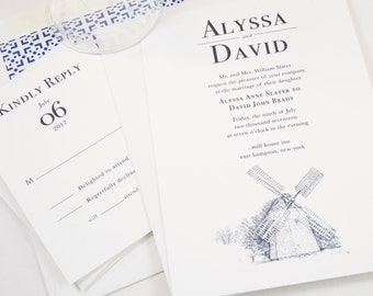 The Hamptons Windmill Hand Drawn Wedding Invitations Package (Sold in Sets of 10 Invitations, RSVP Cards + Envelopes)