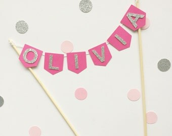 Pennant flag cake topper - custom colours and wording