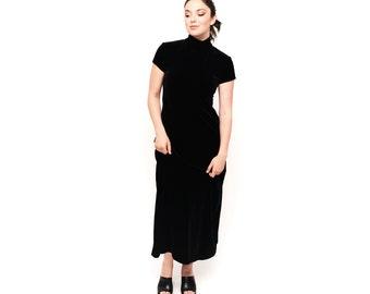1990s Black Velvet Maxi Turtleneck Dress M