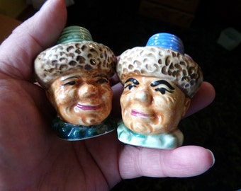 Vintage Salt and Pepper shakers, Head salt and pepper shakers, 1960's salt and pepper shakers, Vintage Mongolian Immigrant Head shakers