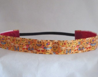 No slip SMILEY FACES headband! They just don't slip!