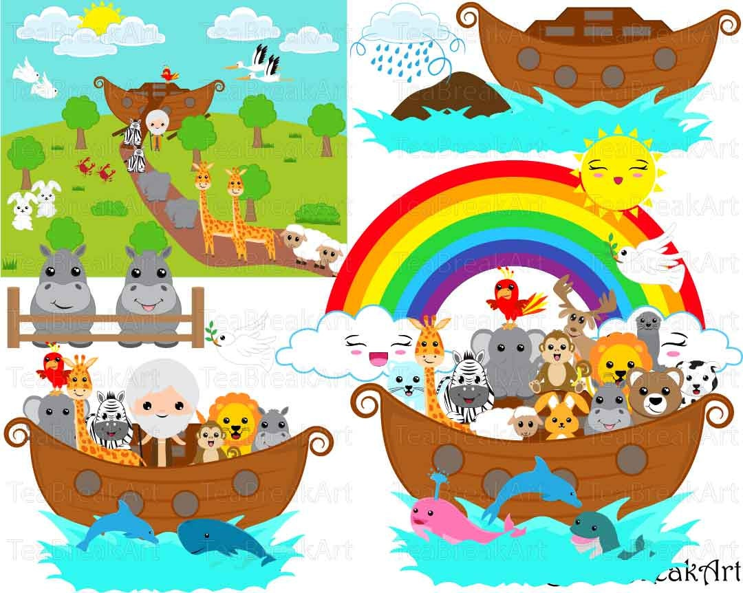 Noah's Ark whole Set Clipart Digital Graphics for Personal