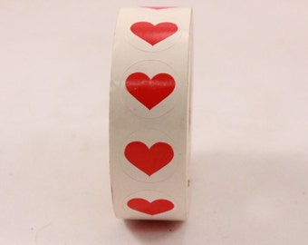 Unsealed Vintage Red Heart Sticker Roll.