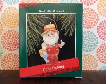 "Hallmark Keepsake Santa Ornament ""Gone Fishing"""