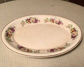 Vintage Ironstone Pansy Small Platter