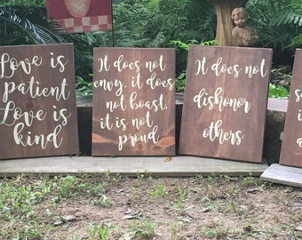 Love is patient...series of wood signs