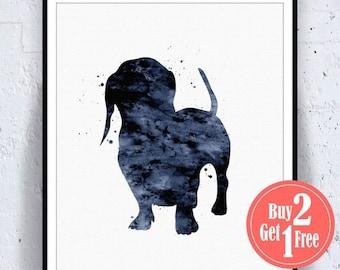 SALE: Dachshund print, dachshund decor, dachshund poster, dachshund art, Illustration dachshund, Nursery Watercolor, Watercolor Poster