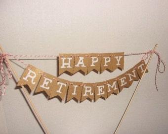 Happy Retirement Cake Topper, Retirement Cake Topper, Cake Topper, Happy Retirement, Mini Banner, Gold Retirement Cake Topper,