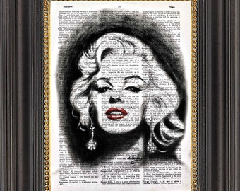 Marilyn Monroe Wall Art, Original Painting Print on Antique Dictionary Paper, Marilyn Art on Vintage Dictionary Page, Dictionary Art Print,
