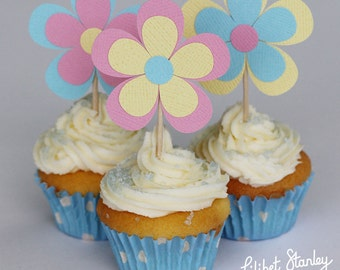 Paper Flower Cupcake toppers for any celebration - Birthday party, Wedding, Christening
