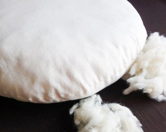 "Inner pillow Stuffed cushion for pet bed diameter 50 cm (19.68 "") Cotton and Natural wool padding"