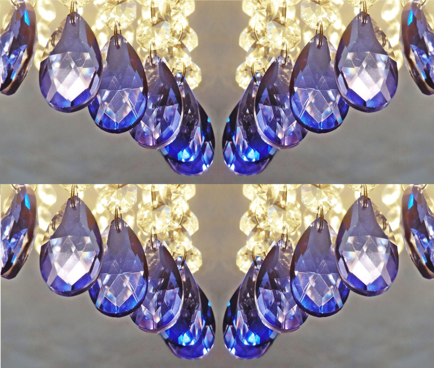 24 royal blue chandelier drops glass crystals shabby droplets chic 24 royal blue chandelier drops glass crystals shabby droplets chic prisms oval beads vintage art deco look christmas tree wedding decoration mozeypictures Image collections