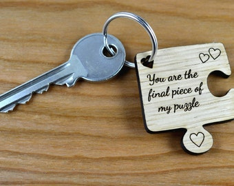 Personalised Oak Wooden Jigsaw Piece Valentines Day Keyring