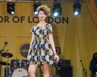 Kitenge African Wax Print Women's Short Sleeve Tunic Dress
