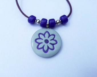 Polymer Clay Purple And White Silver Flower Pendant