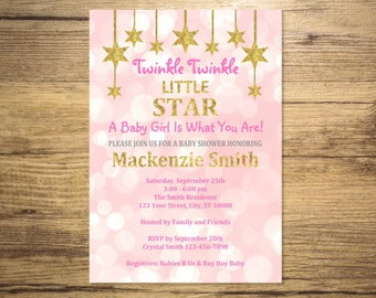 Twinkle Twinkle Little Star Baby Shower Invitation, Pink And Gold (Digital) Glitter Girl Baby Shower Invitation, Digital File