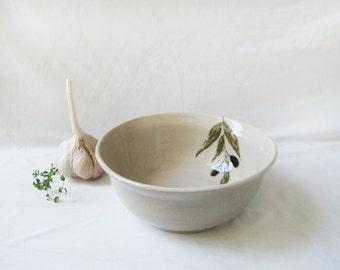 Ceramic dinnerware with decorations,  Handmade Pottery bowl, Olive decorated ceramic bowl , Handmade pottery bowls