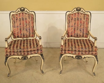 40214E: Pair KARGES French Paint Decorated Open Arm Chairs