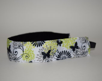 Butterflies and Flower Headband- Black and Yellow- Sport Headband- 1.5 headband- nonslip headband-no slip