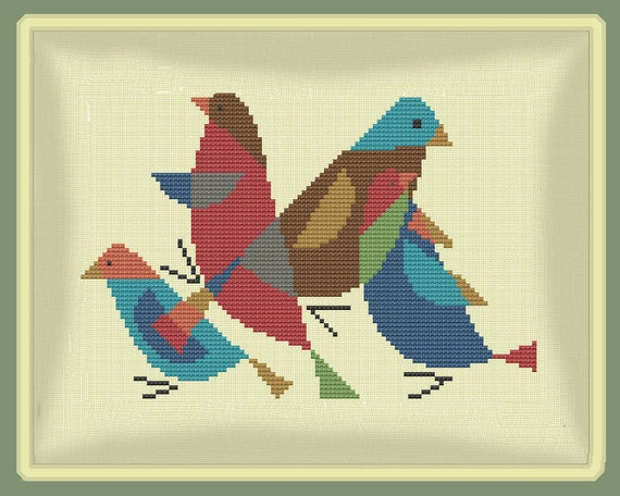 BIRDS PILLOW SET - Modern Counted Cross Stitch Pattern - pdf instant download from ...
