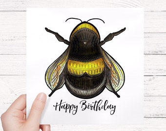 Bee birthday card. Bumble bee greetings card, happy birthday card, yellow and black bumble bee by bexiekimdesign