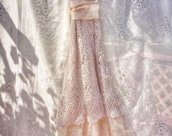 Ivory crochet lace boho wedding dress