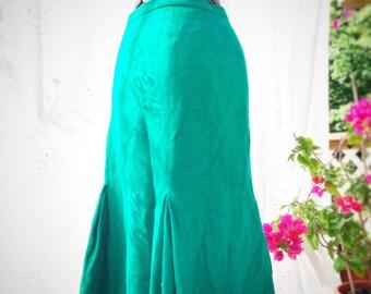 Vintage green wool blend skirt
