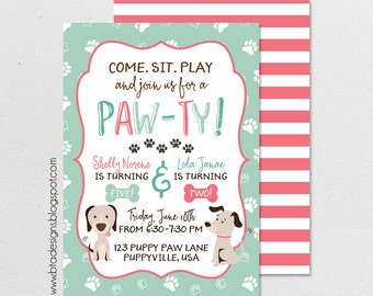 Puppy Paw-ty Birthday Party Invitation 1, Customized, Digital File