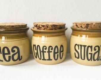 Vintage Kitchen Storage Jars, Set of 3 T G Green Stoneware Jars, Tea, Coffee and Sugar Ceramic Canisters, Original Cork Lids, 1970s,  01278