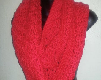 HANDMADE CROCHET Red Infinity Scarf Super Soft Crow's Foot Style