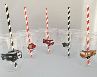 Emergency Service Party Cups, Police Party Cups with Lids and Straws, Firetruck Party Cups