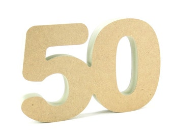 50th celebration wooden number free standing for DIY crafters birthday anniversary decoration