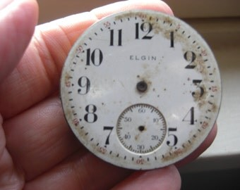 Vintage Elgin Watch face and Works