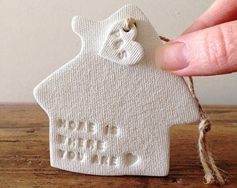 House warming gift / personalised / Home is where you are / White clay house / new house / Mother's Day